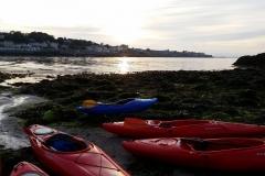 Kayaking-group-sunset